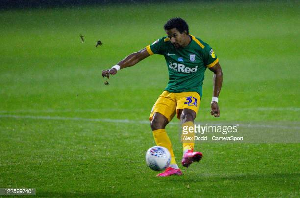 Preston North End's Scott Sinclair scores his side's equalising goal to make the score 11 during the Sky Bet Championship match between Sheffield...
