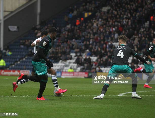 Preston North End's Scott Sinclair scores his sides first goal during the Sky Bet Championship match between Preston North End and Swansea City at...