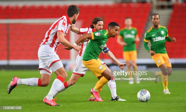 Preston North End's Scott Sinclair tries to find a way past the Stoke City defence during the Sky Bet Championship match between Stoke City and...