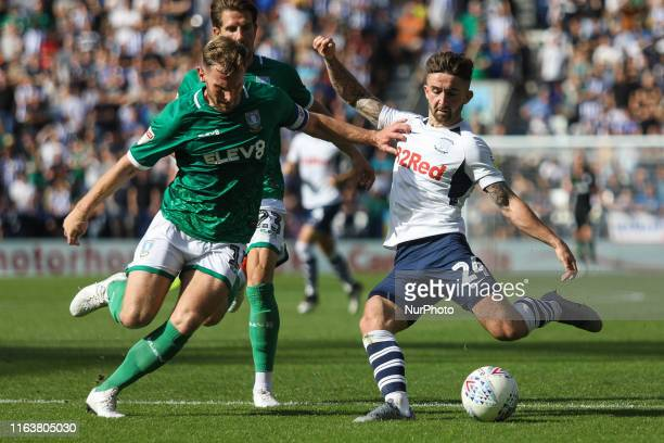 Preston North End's Sean Maguire attempts a shot during the Sky Bet Championship match between Preston North End and Sheffield Wednesday at Deepdale...