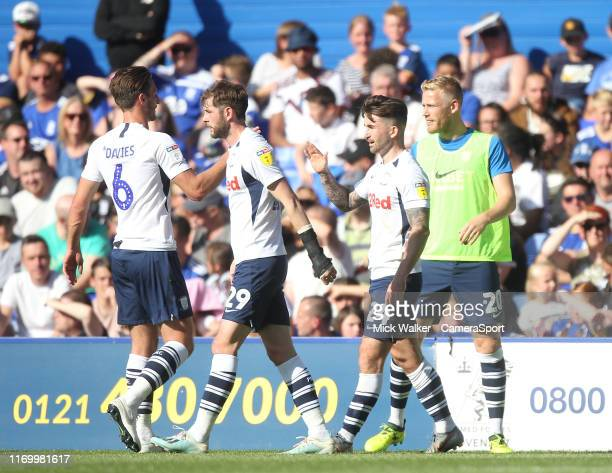 Preston North End's Sean Maguire celebrates scoring his sides first goal during the Sky Bet Championship match between Birmingham City and Preston...