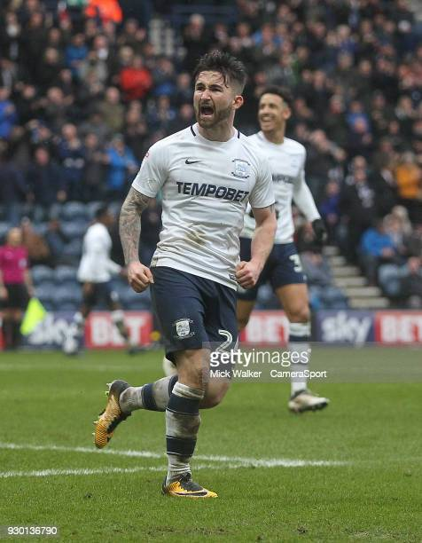 Preston North End's Sean Maguire celebrates scoring his sides first goal during the Sky Bet Championship match between Preston North End and Fulham...