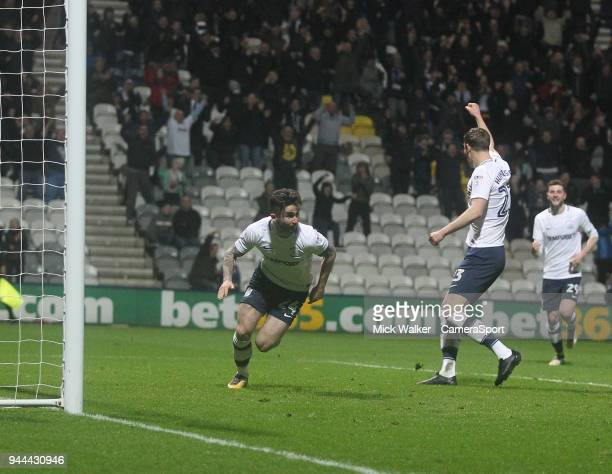 Preston North End's Sean Maguire celebrates scoring his sides second goal during the Sky Bet Championship match between Preston North End and Leeds...
