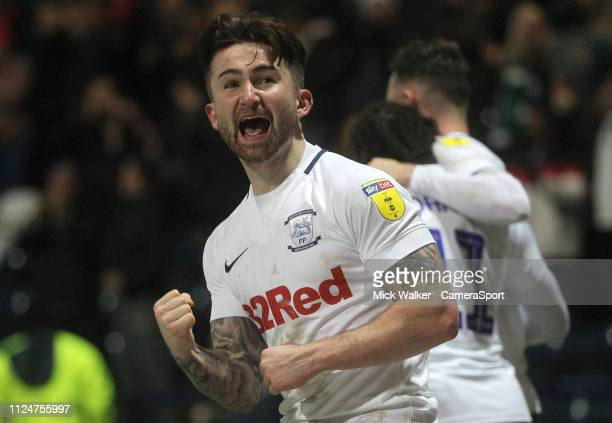 Preston North End's Sean Maguire celebrates scoring his sides third goal during the Sky Bet Championship match between Preston North End and Norwich...