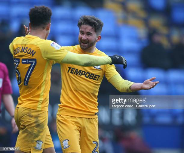 Preston North End's Sean Maguire celebrates scoring his side's third goal with teammate Callum Robinson during the Sky Bet Championship match between...