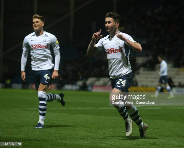 Preston North End's Sean Maguire celebrates scoring the opening goal during the Sky Bet Championship match between Preston North End and Fulham at...