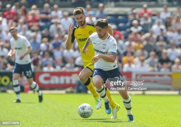 PRESTON ENGLAND MAY Preston North End's Sean Maguire gets away from Burton Albion's Luke Murphy during the Sky Bet Championship match between Preston...