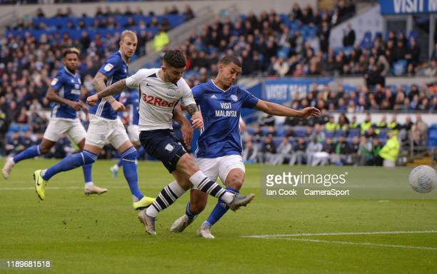 Preston North End's Sean Maguire has a shot at goal during the Sky Bet Championship match between Cardiff City and Preston North End at Cardiff City...