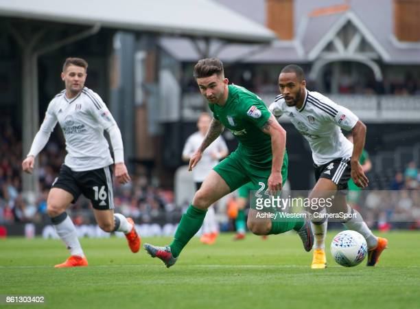 Preston North End's Sean Maguire in action before going off injured during the Sky Bet Championship match between Fulham and Preston North End at...