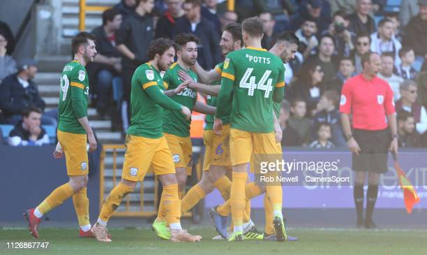 Preston North End's Sean Maguire is congratulated after scoring his side's third goal during the Sky Bet Championship match between Millwall and...