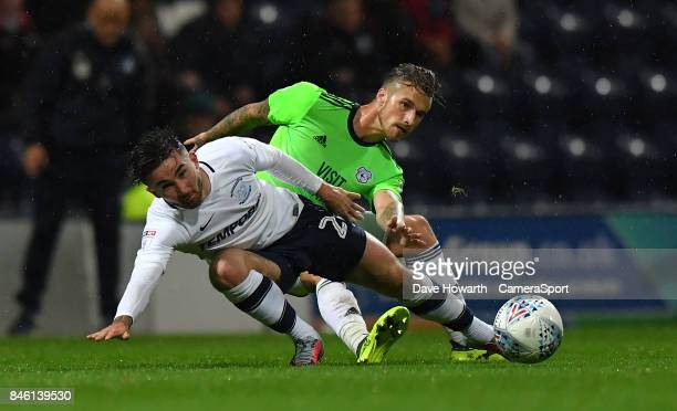 Preston North End's Sean Maguire is fouled by Cardiff City's Joe Bennett during the Sky Bet Championship match between Preston North End and Cardiff...