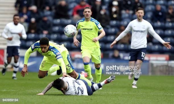 Preston North End's Sean Maguire is fouled by Derby County's Curtis Davies during the Sky Bet Championship match between Preston North End and Derby...