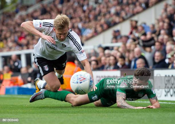 Preston North End's Sean Maguire is fouled by Fulham's Tim Ream during the Sky Bet Championship match between Fulham and Preston North End at Craven...