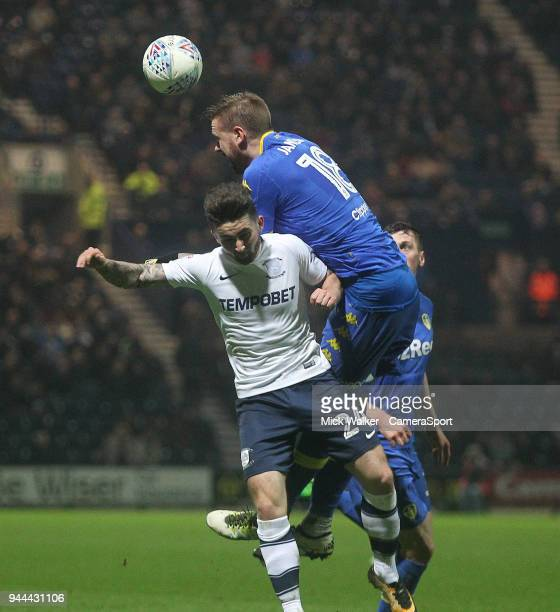 PRESTON ENGLAND APRIL Preston North End's Sean Maguire jumps with Leeds United's Pontus Jansson during the Sky Bet Championship match between Preston...