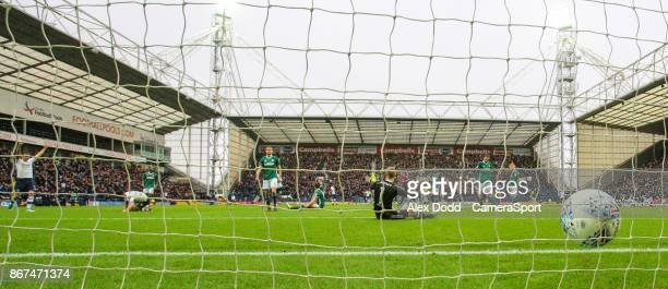 Preston North End's Sean Maguire scores his side's equalising goal to make the score 11 during the Sky Bet Championship match between Preston North...