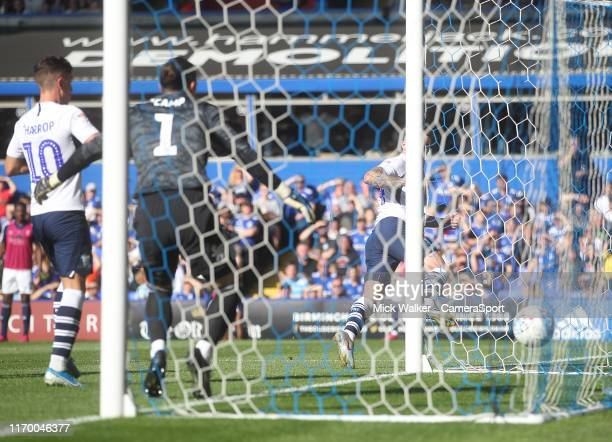 Preston North End's Sean Maguire scores his sides first goal during the Sky Bet Championship match between Birmingham City and Preston North End at...