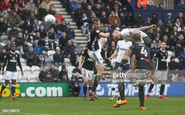Preston North End's Sean Maguire scores his sides first goal during the Sky Bet Championship match between Preston North End and Fulham at Deepdale...