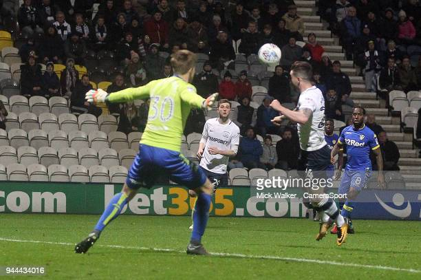 Preston North End's Sean Maguire scores his sides second goal beating Leeds United's Bailey PeacockFarrell during the Sky Bet Championship match...