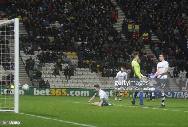 Preston North End's Sean Maguire scores his sides second goal during the Sky Bet Championship match between Preston North End and Leeds United at...