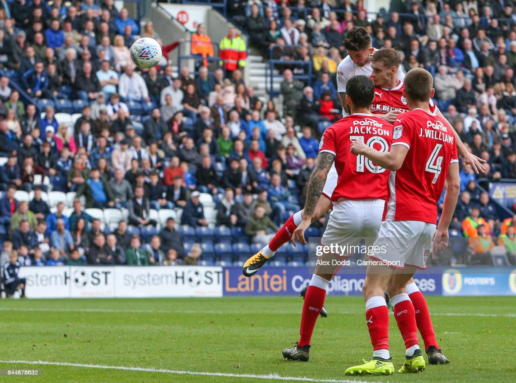 Preston North End's Sean Maguire scores the opening goal during the Sky Bet Championship match between Preston North End and Barnsley at Deepdale on September 9, 2017 in Preston, England.