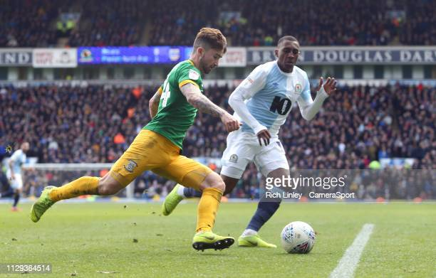 Preston North End's Sean Maguire under pressure from Blackburn Rovers' Amari'i Bel during the Sky Bet Championship match between Blackburn Rovers and...
