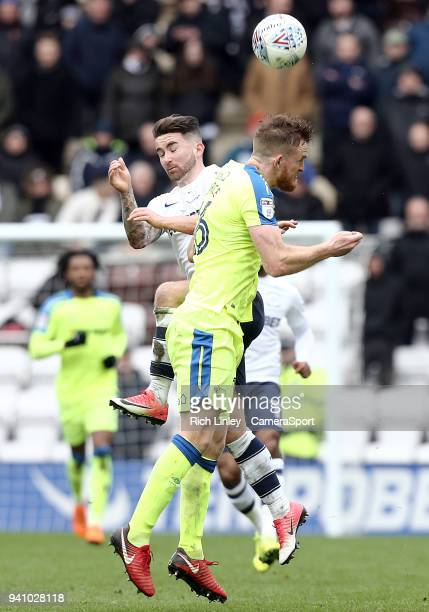 PRESTON ENGLAND APRIL Preston North End's Sean Maguire vies for possession with Derby County's Alex Pearce during the Sky Bet Championship match...