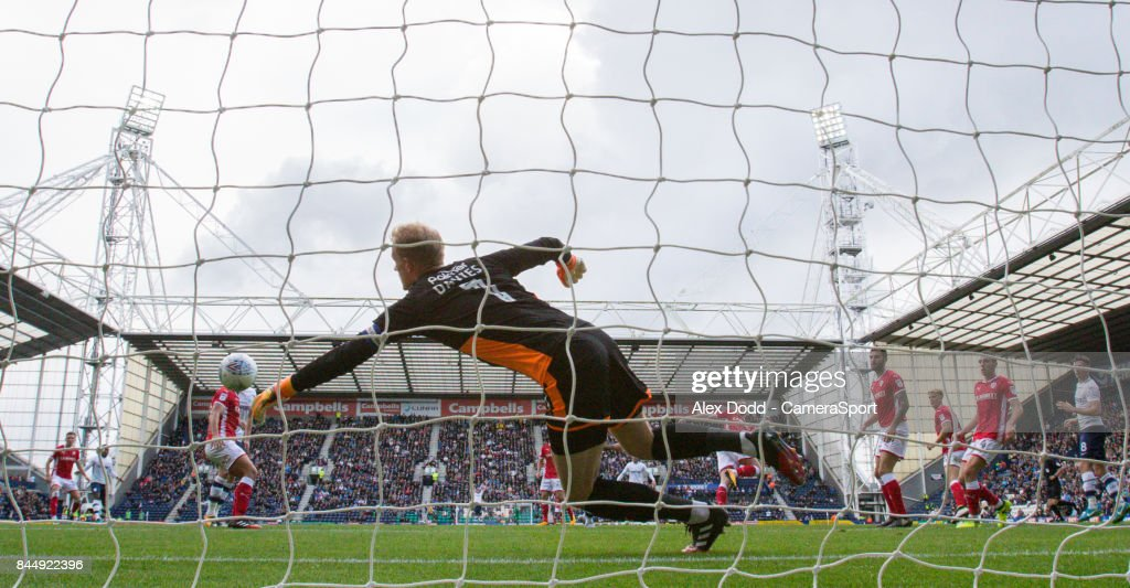 Preston North End's Sean Maguire's header beats Barnsley's Adam Davies during the Sky Bet Championship match between Preston North End and Barnsley at Deepdale on September 9, 2017 in Preston, England.