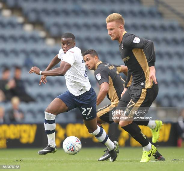 Preston North End's Stephy Mavididi battles with Millwall's Byron Webster during the Sky Bet Championship match between Preston North End and...
