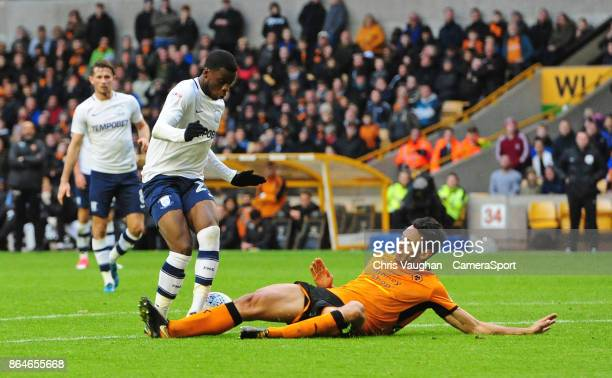Preston North End's Stephy Mavididi is tackled by Wolverhampton Wanderers' Roderick Miranda but his appeals for a penalty were turned down during the...