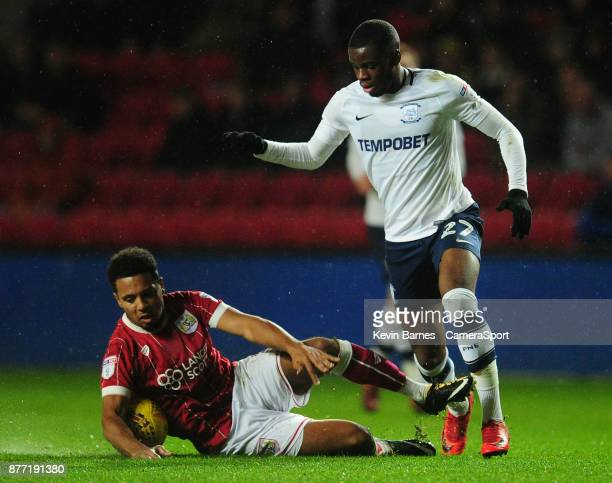 Preston North End's Stephy Mavididi vies for possession with Bristol City's Korey Smith during the Sky Bet Championship match between Bristol City...