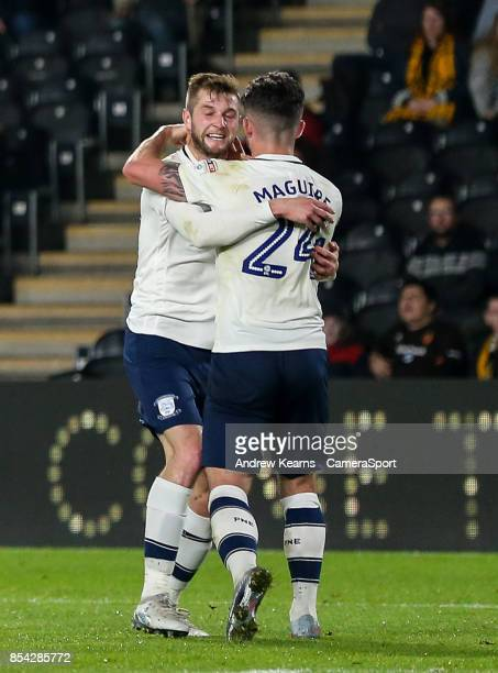 Preston North End's Tom Barkhuizen celebrates scoring his side's first goal with team mate Sean Maguire during the Sky Bet Championship match between...