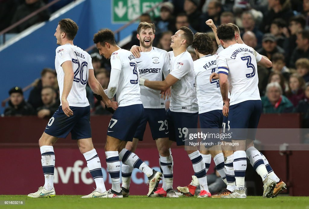 Preston North End's Tom Barkhuizen (third left) celebrates scoring his side's first goal of the game during the Sky Bet Championship match at Villa Park, Birmingham.