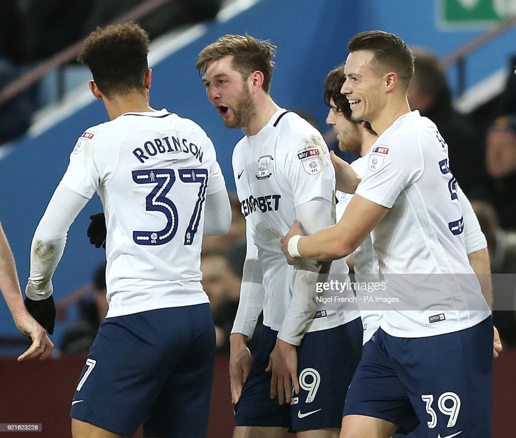 Preston North End's Tom Barkhuizen (second left) celebrates scoring his side's first goal of the game during the Sky Bet Championship match at Villa Park, Birmingham.
