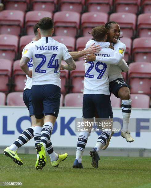 Preston North End's Tom Barkhuizen celebrates scoring the opening goal with teammate Daniel Johnson during the Sky Bet Championship match between...
