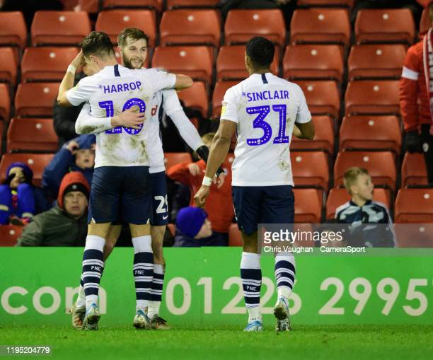 Preston North End's Tom Barkhuizen centre celebrates scoring his side's third goal with teammates Josh Harrop left and Scott Sinclair during the Sky...