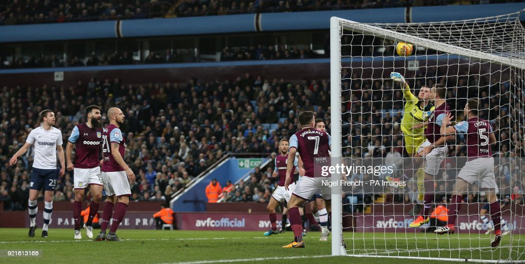 Preston North End's Tom Barkhuizen (out of picture) scores his side's first goal of the game during the Sky Bet Championship match at Villa Park, Birmingham.
