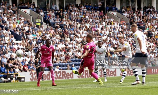 Preston North End's Tom Barkhuizen with an early effort wide of the mark during the Sky Bet Championship match between Preston North End and Queens...