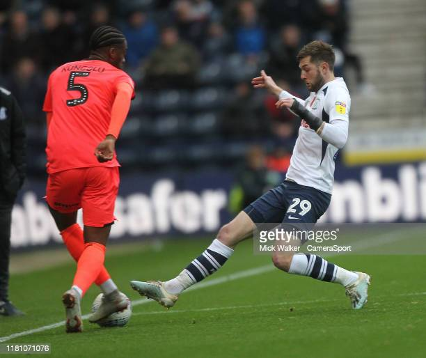 Preston North End's Tom Barkuizen in action with Huddersfield Town's Terence Kongolo during the Sky Bet Championship match between Preston North End...