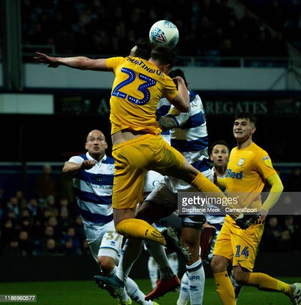 Preston North's End Paul Huntington has a shot on goal during the Sky Bet Championship match between Queens Park Rangers and Preston North End at The...