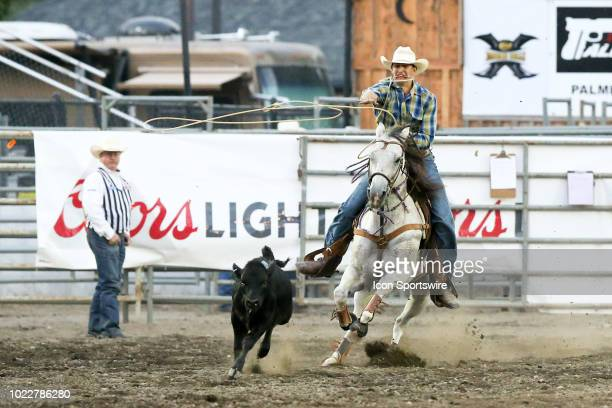 Preston Pederson scored a 0 during the PRCA Pro Rodeo Tie Down Roping competition on August 23, 2018 at the Kitsap County Fair and Stampede in...