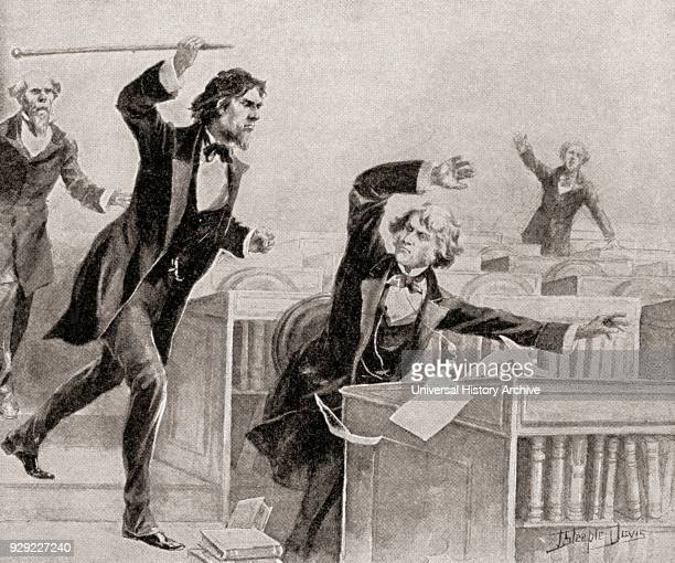 Preston Smith Brooks a fervent advocate of slavery assaulting Senator Charles Sumner an abolitionist with a cane on the floor of the United States...