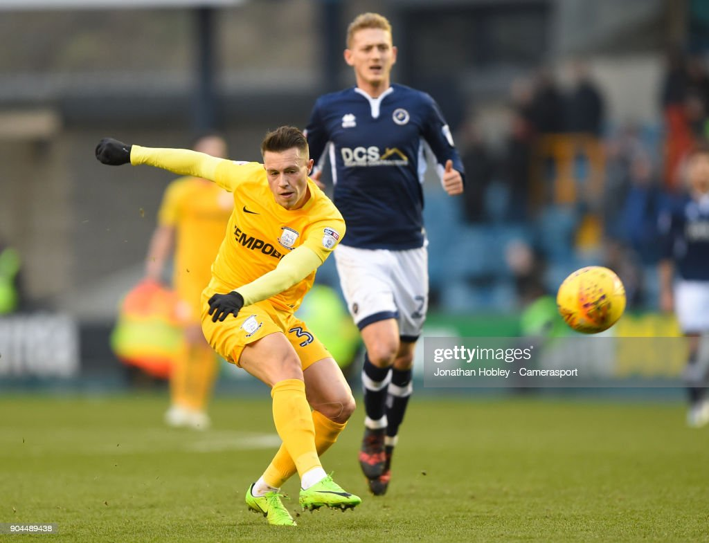 Preston's Billy Bodin takes a shot at goal during the Sky Bet Championship match between Millwall and Preston North End at The Den on January 13, 2018 in London, England.