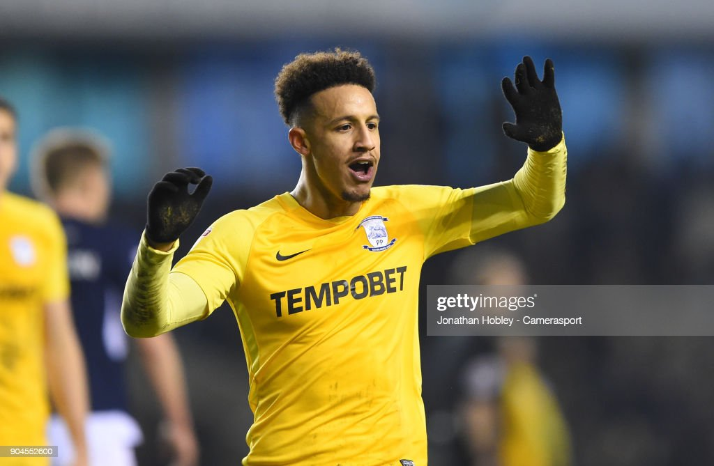 Preston's Callum Robinson celebrates scoring his side's equalising goal to make the score 1-1 during the Sky Bet Championship match between Millwall and Preston North End at The Den on January 13, 2018 in London, England.