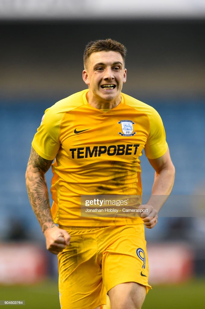 Preston's Jordan Hugill during the Sky Bet Championship match between Millwall and Preston North End at The Den on January 13, 2018 in London, England.