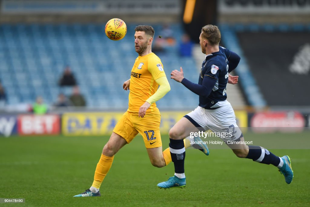 Preston's Paul Gallagher during the Sky Bet Championship match between Millwall and Preston North End at The Den on January 13, 2018 in London, England.
