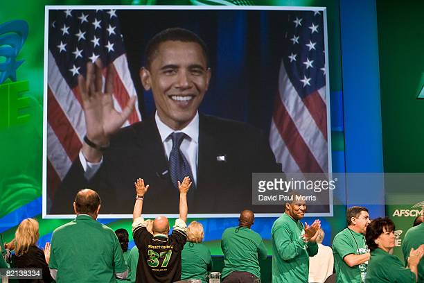Presumed Democratic presidental candidate Sen Barack Obama speaks via satellite TV to members of the American Federation of State County and...