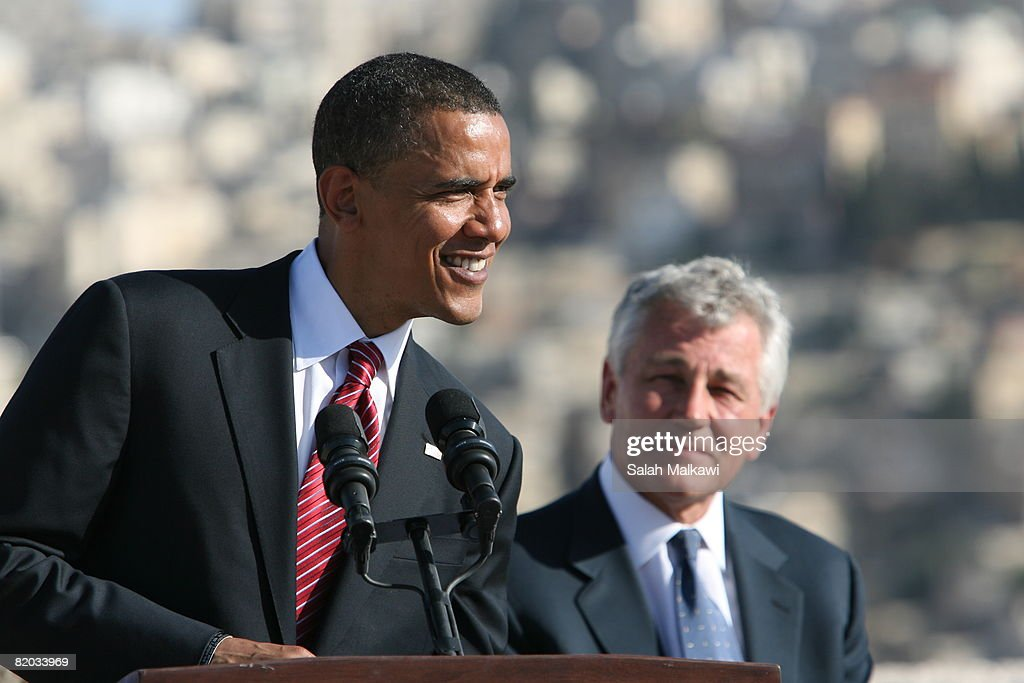 Presumptive Democratic presidential candidate Sen. Barack Obama (D-IL) (L) speaks as Sen. Chuck Hagel (R-NE) listens during a news conference at the citadel July 22, 2008 in Amman, Jordan. Sen. Chuck Hagel (R-NE) and Sen. Jack Reed (D-RI) joined the presidential candidate on his tour of the Middle East and Europe.