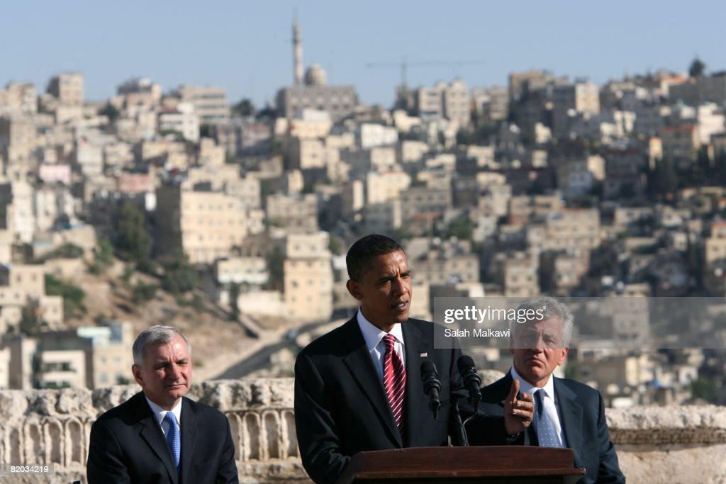 Presumptive Democratic presidential candidate Sen. Barack Obama (D-IL) (C) speaks as Sen. Chuck Hagel (R-NE) (R) and Sen. Jack Reed (D-RI) listen during a news conference at the citadel July 22, 2008 in Amman, Jordan. Sen. Chuck Hagel (R-NE) and Sen. Jack Reed (D-RI) joined the presidential candidate on his tour of the Middle East and Europe.