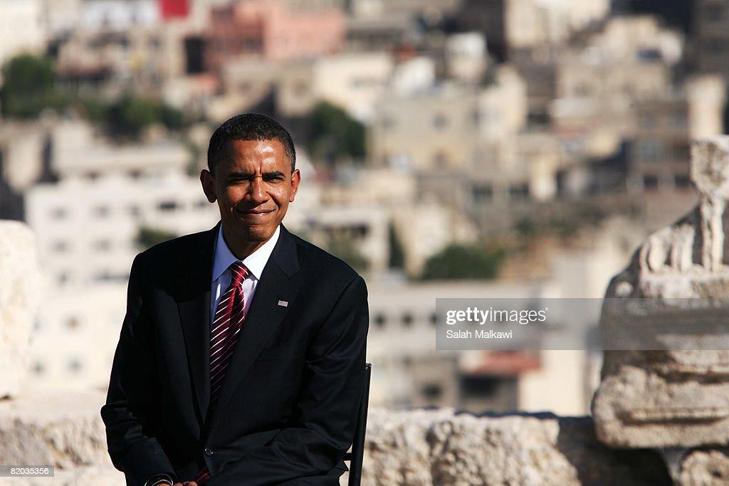 Presumptive Democratic presidential candidate Sen. Barack Obama (D-IL) speaks during a news conference at the Amman Citadel July 22, 2008 in Amman, Jordan. Sen. Chuck Hagel (R-NE) and Sen. Jack Reed (D-RI) joined the presidential candidate on his tour of the Middle East and Europe.