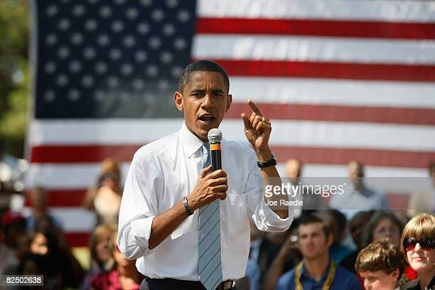 Presumptive Democratic Presidential candidate US Sen Barack Obama speaks during a campaign event at John Tyler Community College August 21 2008 in...